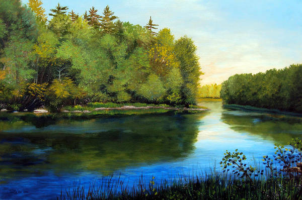 Maine Art Print featuring the painting Summer River by Laura Tasheiko