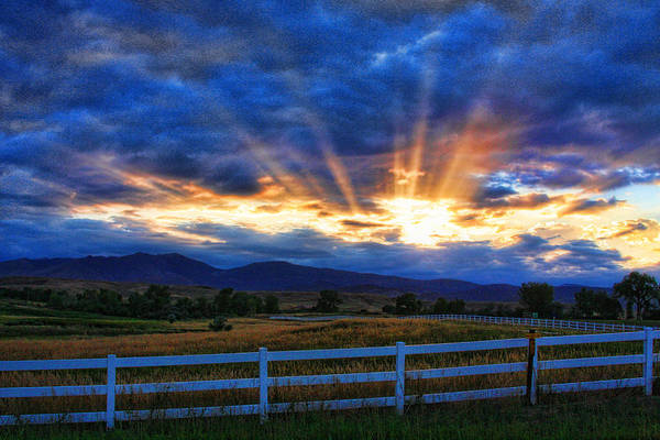 Sunset Art Print featuring the photograph Sun Beams In The Sky At Sunset by James BO Insogna