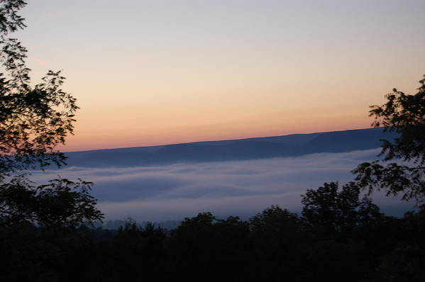 Sun Art Print featuring the photograph Sun Rise With Fog In The Valley by Richard Botts