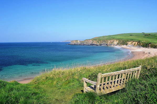 Horizontal Art Print featuring the photograph Sunny Day At Thurlestone Beach by Photo by Andrew Boxall