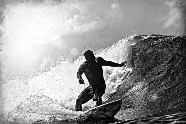 Surf Art Print featuring the photograph Sunny Garcia In Black And White by Paul Topp