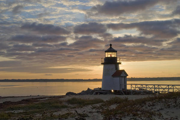 Krauzyk Print featuring the photograph Sunrise At Brant Point Nantucket by Henry Krauzyk