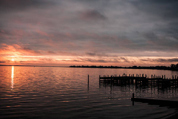 Sunrise Art Print featuring the photograph Sunrise On The Dock by Kevin Quinn