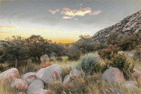 New Mexico Art Print featuring the digital art Sunrise, Organ Moutains by Bryan Pridgeon