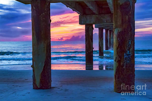 Sunrise Under The Pier Art Print featuring the photograph Sunrise Under The Pier by C W Hooper
