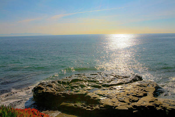 Sunsets Art Print featuring the photograph Sunset At Sea Santa Cruz Ca by Liz Santie