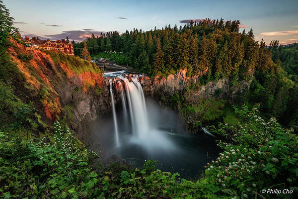 Sunset Art Print featuring the photograph Sunset At Snoqualmie Falls by Jeongrae Cho