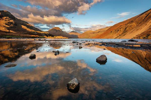 Sunrise Art Print featuring the photograph Sunset At Wast Water #3, Wasdale, Lake District, England by Anthony Lawlor