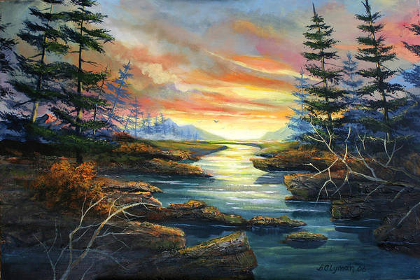 Landscape Art Print featuring the painting Sunset Creek by Brooke Lyman
