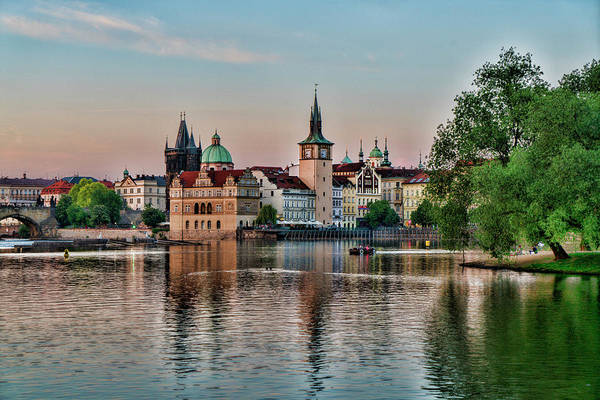 Central Europe Art Print featuring the photograph Sunset Cruise Prague by Sharon Popek