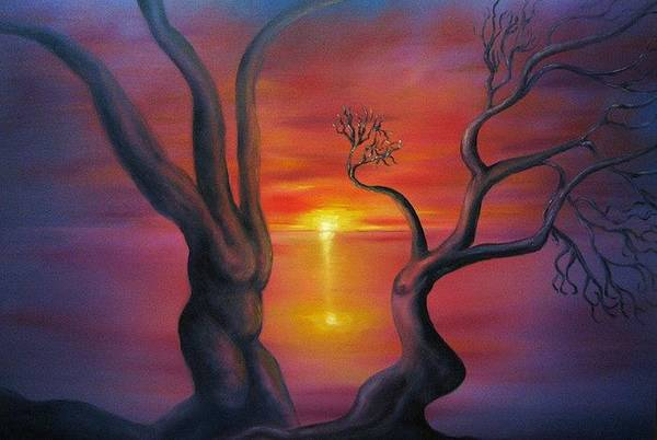Landscape Art Print featuring the painting Sunset Dance Fantasy Oil Painting by Natalja Picugina