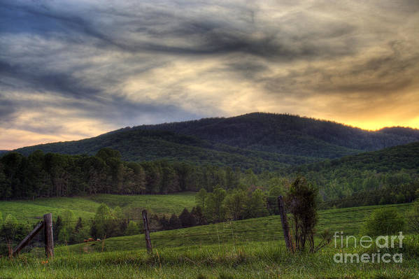 Landscape Art Print featuring the photograph Sunset On Appleberry Mountain 2 by Pete Hellmann
