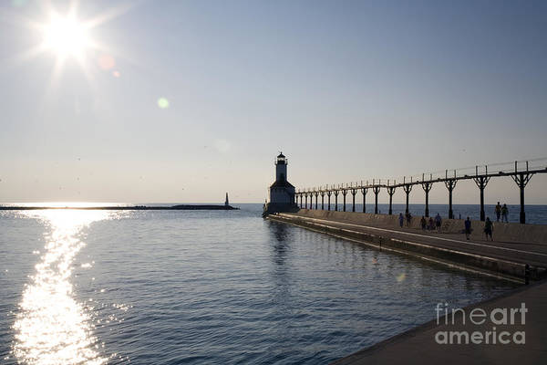 Lake Michigan Art Print featuring the photograph Sunset On Lake Michigan by Jeannie Burleson