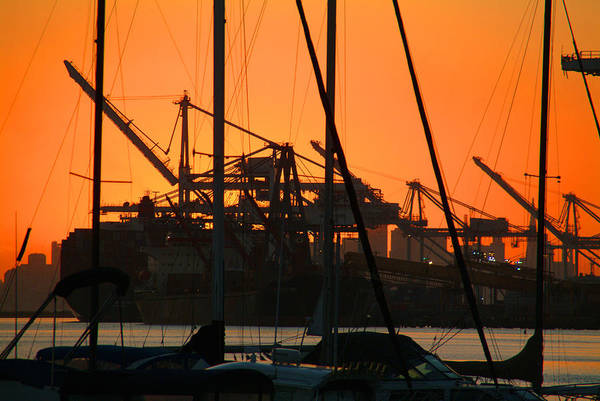 Sunset Art Print featuring the photograph Sunset Over Alameda Harbor by Charles Ridgway