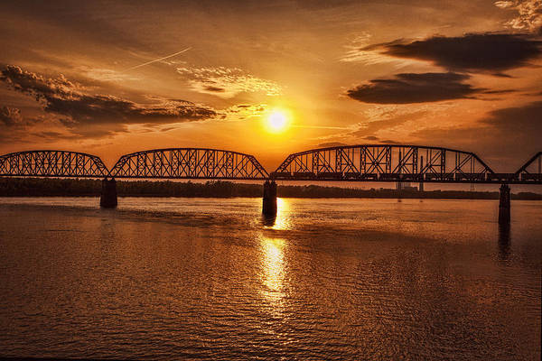 George Rogers Clark Memorial Bridge Art Print featuring the photograph Sunset Over The Bridge by Diana Powell