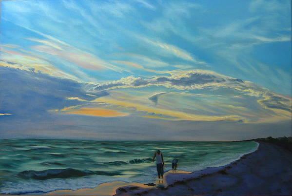 Seascape Art Print featuring the painting Sunset Treasure Hunt by Lea Novak