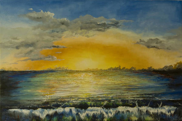 Seascape Art Print featuring the painting Sunset Wave by Alan Pickersgill
