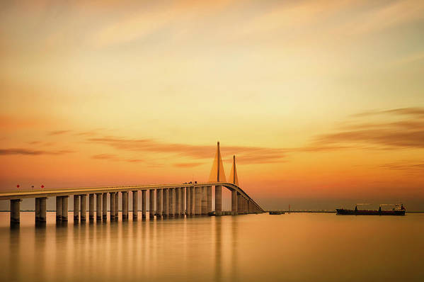 Horizontal Art Print featuring the photograph Sunshine Skyway Bridge by G Vargas