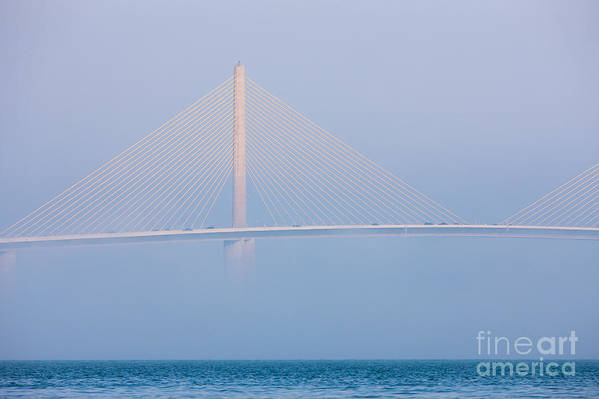 Clarence Holmes Art Print featuring the photograph Sunshine Skyway Bridge In Fog I by Clarence Holmes