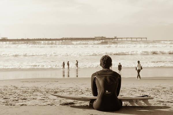 Ocean Art Print featuring the photograph Surf Watcher by Clifford Beck