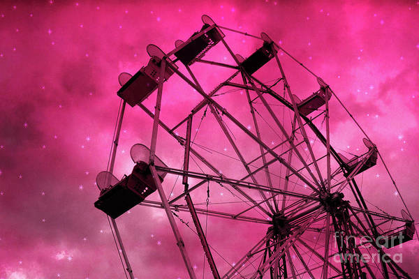 Red Pink Ferris Wheel Print Art Print featuring the photograph Surreal Fantasy Dark Pink Ferris Wheel Carnival Ride Starry Night - Pink Ferris Wheel Home Decor by Kathy Fornal