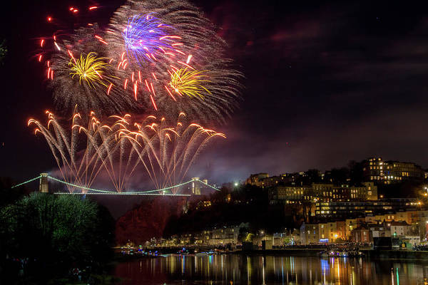 City Of Bristol Art Print featuring the photograph Suspension Bridge Fireworks by Paul Hennell