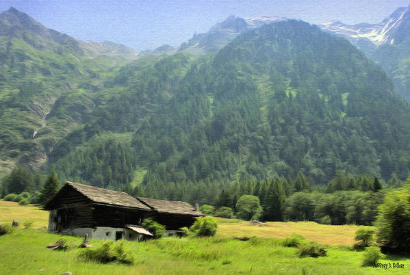 Switzerland Art Print featuring the painting Swiss Mountain Home by Jeff Kolker