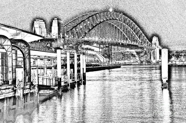Photography art print featuring the photograph sydney harbour bridge pencil sketch 2 by kaye menner by