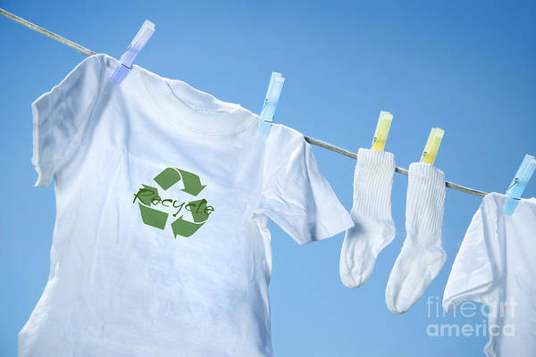 White Art Print featuring the digital art T-shirt With Recycle Logo Drying On Clothesline On A Summer Day by Sandra Cunningham