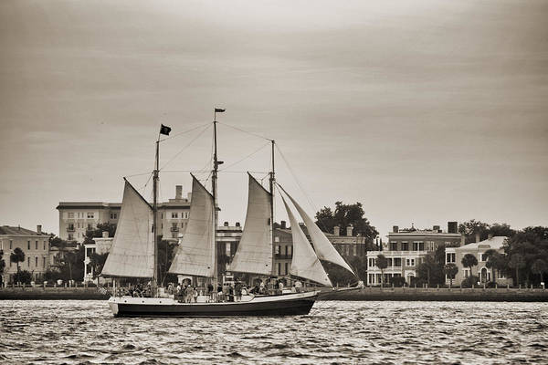 Tall Ship Art Print featuring the photograph Tall Ship Schooner Pride Off The Historic Charleston Battery by Dustin K Ryan