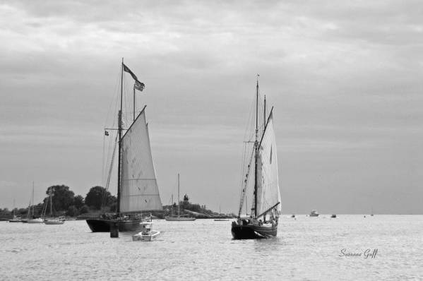 Tall Ships Art Print featuring the photograph Tall Ships Sailing I In Black And White by Suzanne Gaff