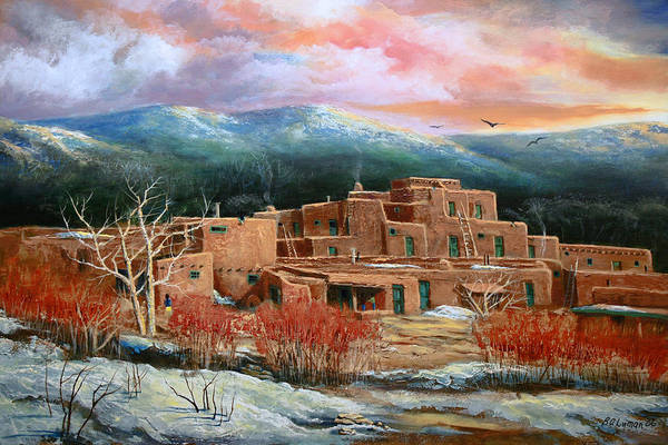 Landscape Art Print featuring the painting Taos Pueblo by Brooke lyman