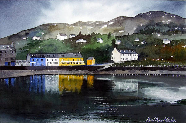 Scottish Fishing Harbour Art Print featuring the painting Tarbert Reflections by Paul Dene Marlor