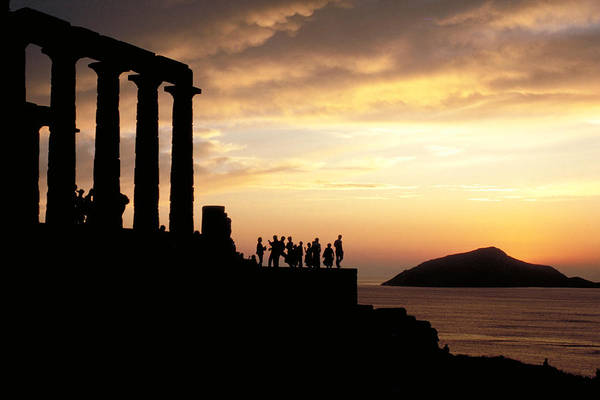 Tourists Art Print featuring the photograph Temple Of Poseiden In Greece by Carl Purcell