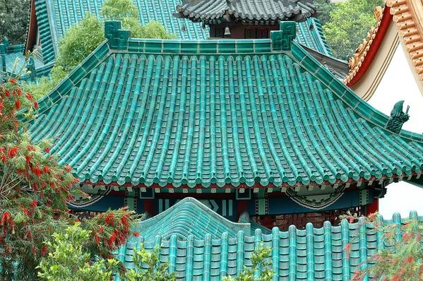 Chinese Art Print featuring the photograph Temple Roofs by Mary Lane