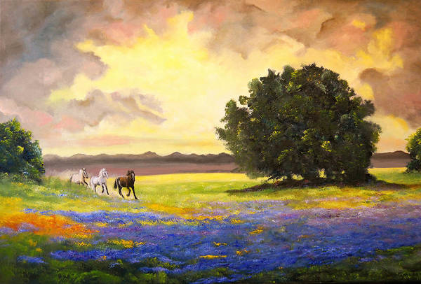 Landscape Art Print featuring the painting Texas Horses And Bluebonnets by Connie Tom