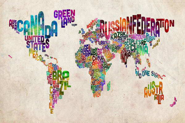 Map Of The World Art Print featuring the digital art Text Map Of The World by Michael Tompsett
