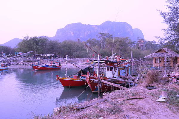 Landscape Art Print featuring the photograph Thai Fishing Boats 05 by Pusita Gibbs