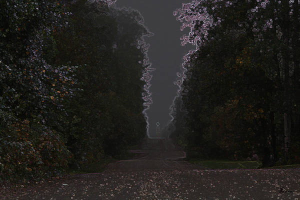 Road Ghost Boy Trees Laneway Treed Nature Colorful Leaves Plants Stones Art Print featuring the photograph The Adventurer by Andrea Lawrence