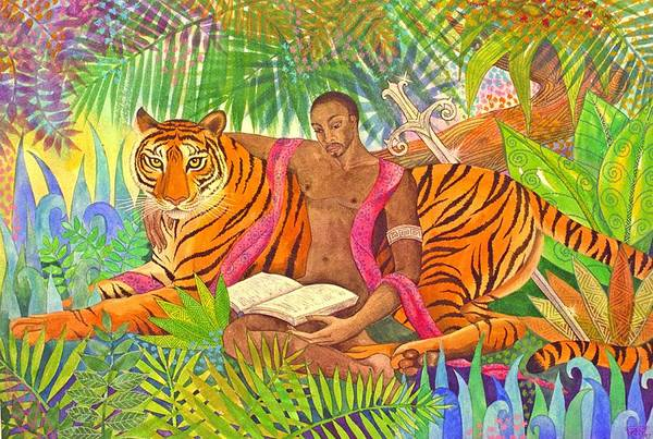 Tiger Warrior Jungle Tropical Sacred Wild Colourful Art Print featuring the painting The Alchemists by Jennifer Baird