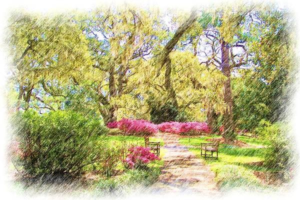 Azalea Art Print featuring the digital art The Azalea Garden by Janet Pugh