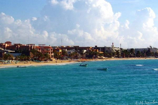 Mexico Art Print featuring the photograph The Beach At Playa Del Carmen by Elise Samuelson