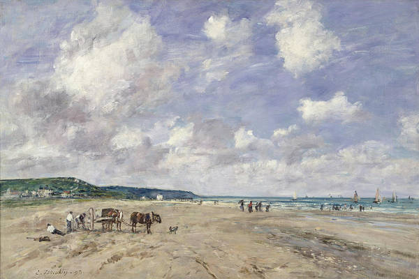 The Art Print featuring the painting The Beach At Tourgeville by Eugene Louis Boudin