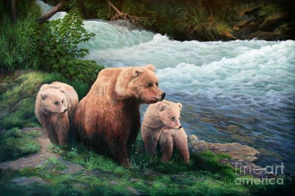 Bears Art Print featuring the painting The Bears Of Katmai by Lorna Allan