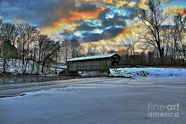 Covered Bridge Old Lumber 1870s Art Snow Winter Landscape Artistic Art Print featuring the photograph The Covered Bridge by Robert Pearson