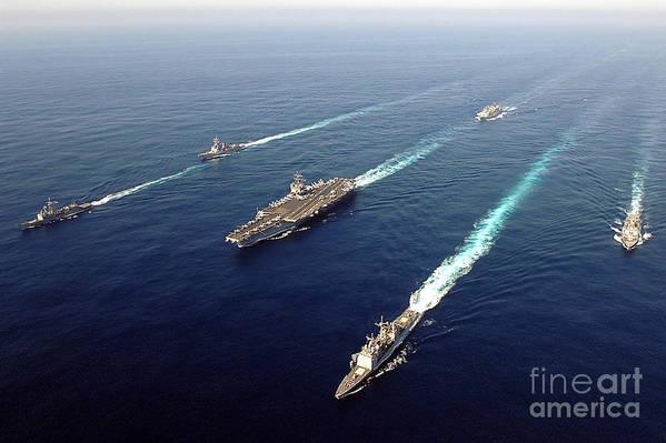 Uss Enterprise Art Print featuring the photograph The Enterprise Carrier Strike Group by Stocktrek Images