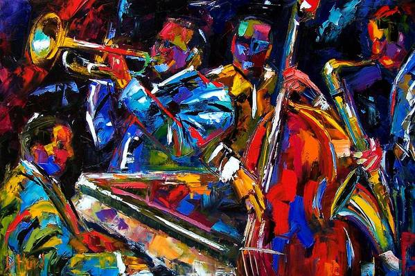Jazz Art Print featuring the painting The First Set by Debra Hurd