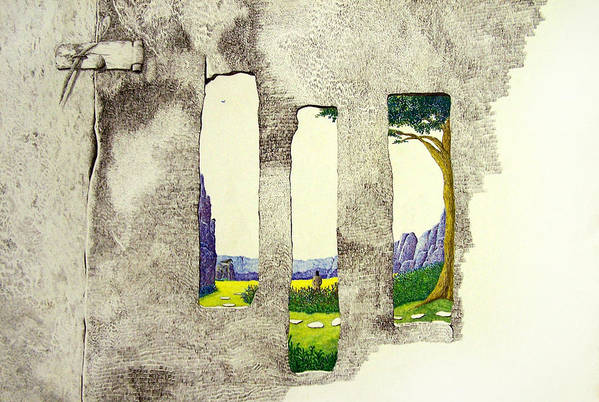 Imaginary Landscape. Art Print featuring the painting The Garden by A Robert Malcom
