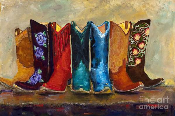 Cowboy Boots Print featuring the painting The Girls Are Back In Town by Frances Marino