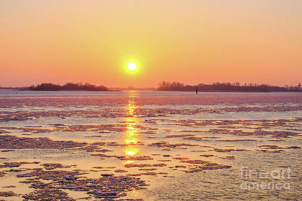 The Golden Hour And Ice Drift By Marina Usmanskaya Art Print featuring the photograph The Golden Hour And Ice Drift by Marina Usmanskaya